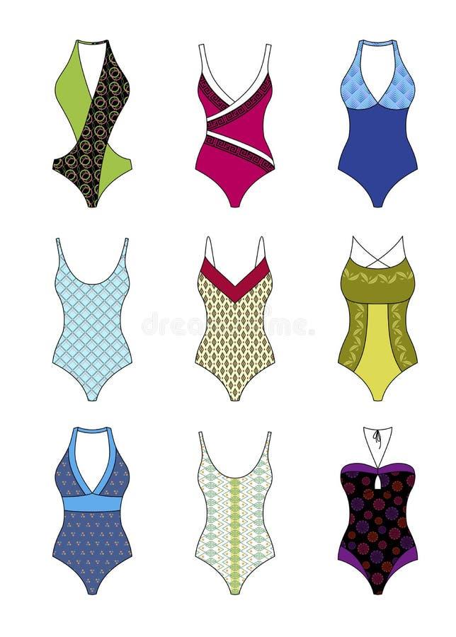 Insieme di vettore dello swimwear di un pezzo delle donne illustrazione di stock