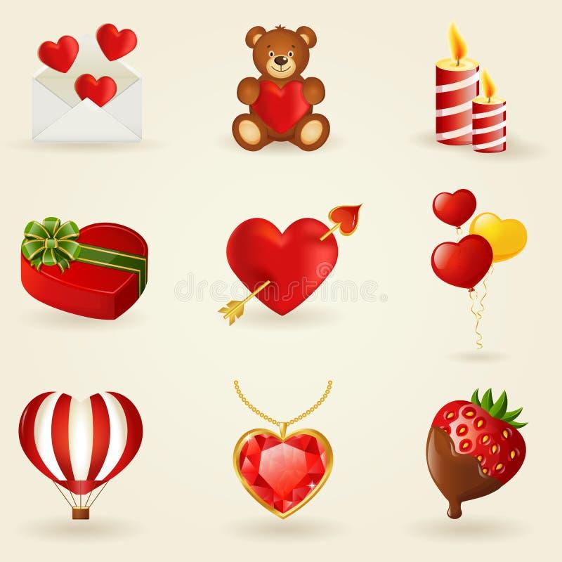 Insieme di vettore di amore e delle icone romantiche. illustrazione vettoriale