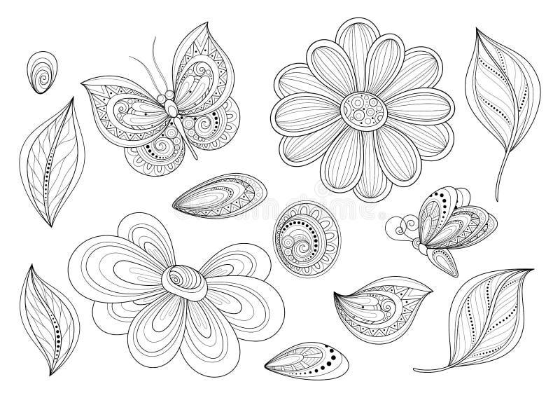 Insieme di vettore di bei elementi monocromatici di progettazione floreale con gli insetti illustrazione di stock