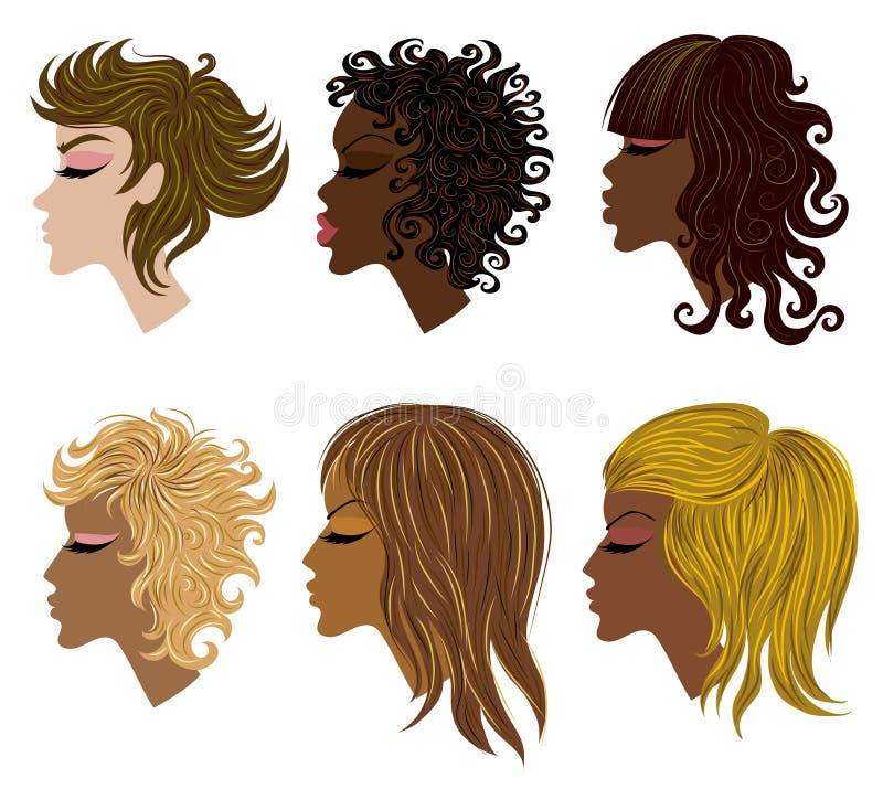 Insieme di vettore di capelli d'avanguardia che designa per la donna illustrazione di stock