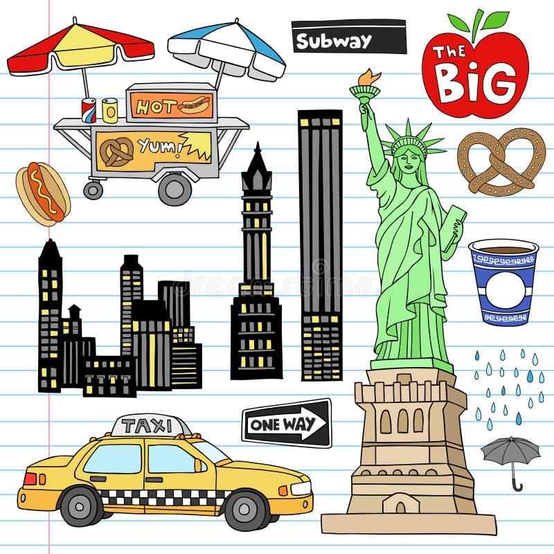 Insieme di vettore di Doodle del taccuino di New York City Manhattan royalty illustrazione gratis