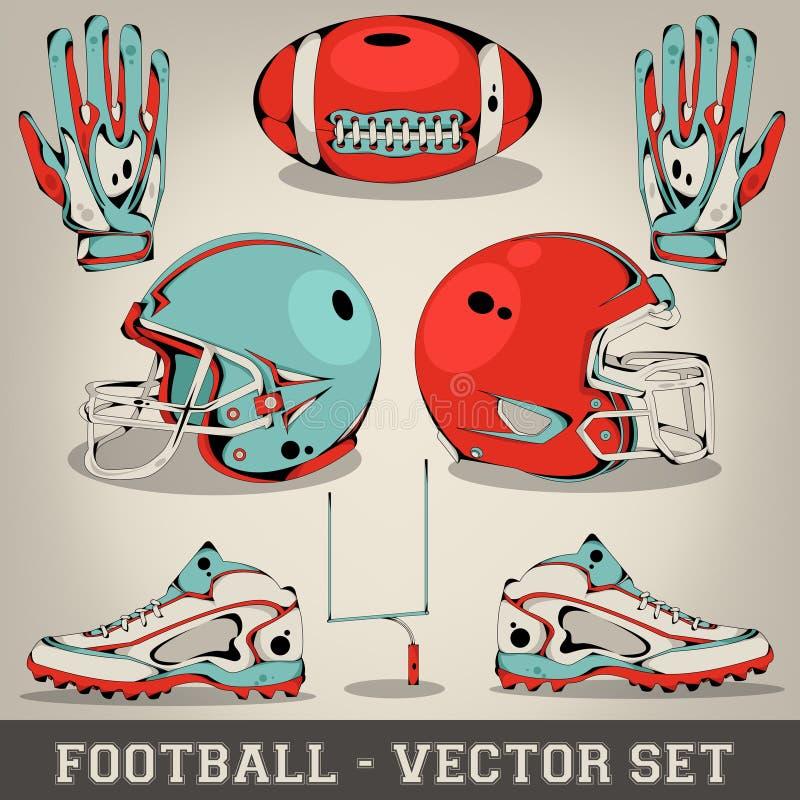 Insieme di vettore di football americano illustrazione vettoriale