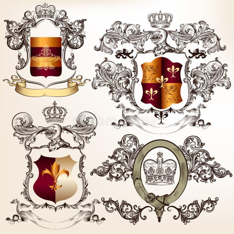 Insieme di vettore di progettazione araldica dettagliata con la stemma e lo shi illustrazione di stock