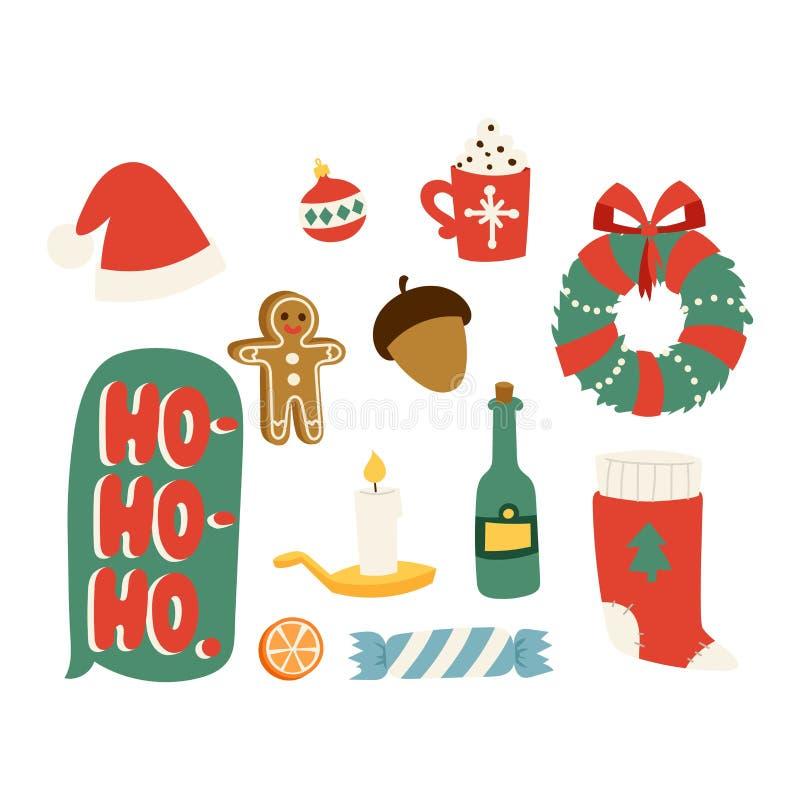 Insieme di vettore di simboli delle icone di Natale royalty illustrazione gratis