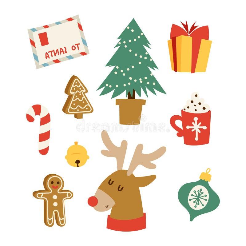 Insieme di vettore di simboli delle icone di Natale illustrazione di stock