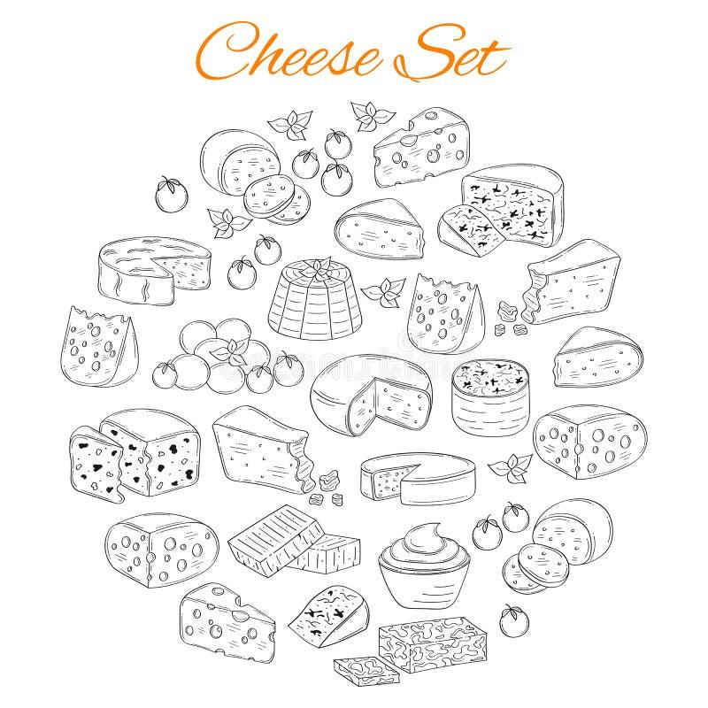 Insieme di vettore di vari tipi di formaggi, illustrazione disegnata a mano isolata su fondo bianco illustrazione vettoriale