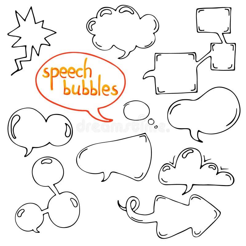 Insieme di vettore di discorso del fumetto e del communicatio disegnati a mano di pensiero royalty illustrazione gratis