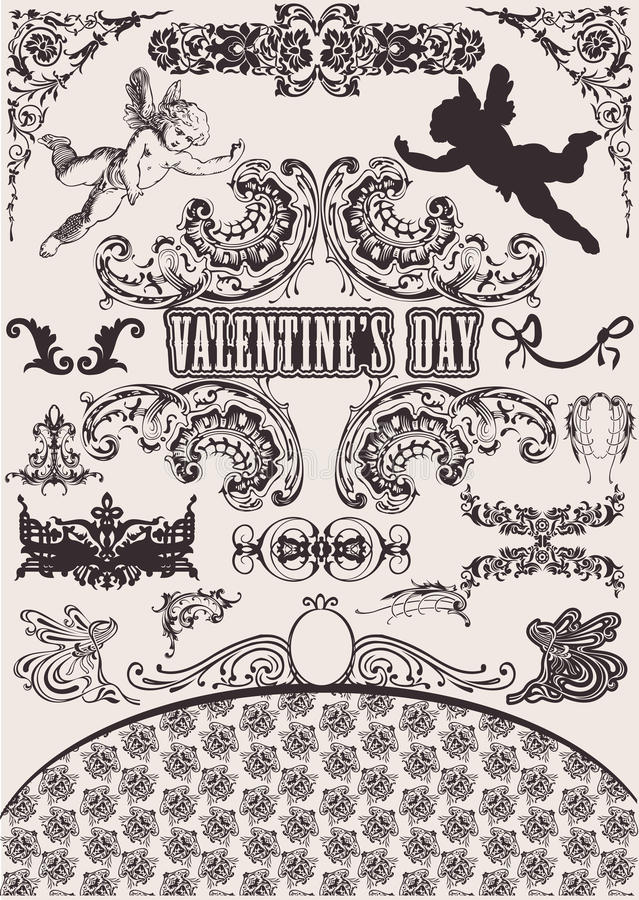 Insieme di vettore. Elementi di disegno del biglietto di S. Valentino. royalty illustrazione gratis