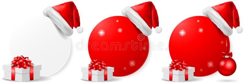 Insieme di vettore isolato bottone di azione di offerta di Natale illustrazione vettoriale