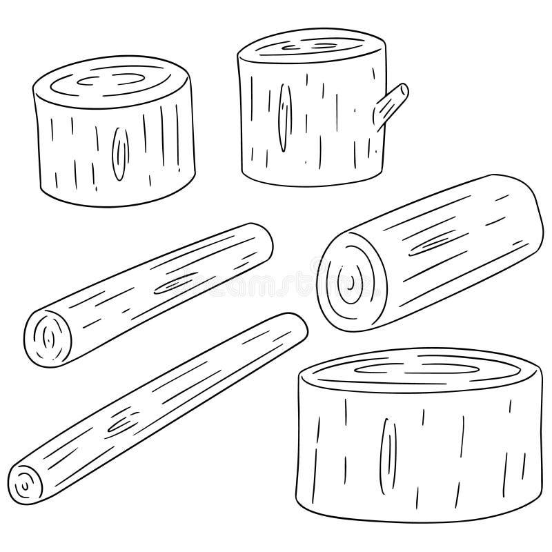 Insieme di vettore di legname di legno royalty illustrazione gratis