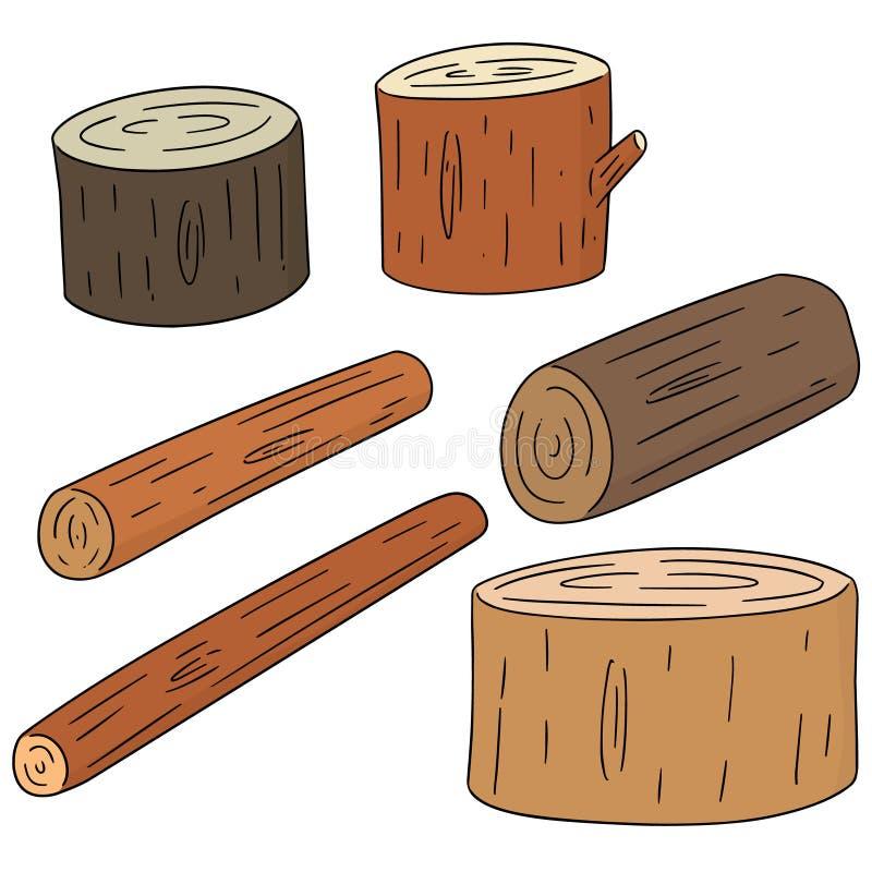 Insieme di vettore di legname di legno illustrazione di stock