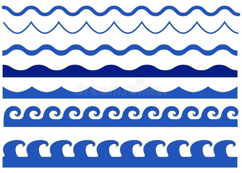 Insieme di vettore di onde isolato illustrazione vettoriale