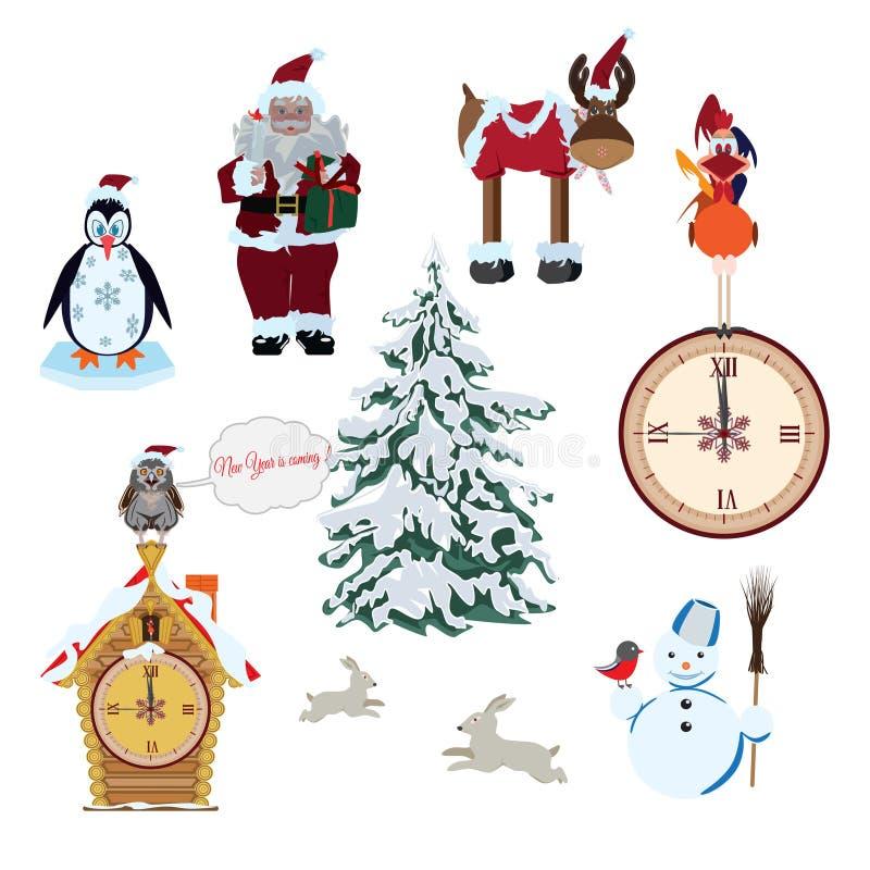 Insieme di vettore personaggi dei cartoni animati del ` s del nuovo anno e di Natale illustrazione vettoriale