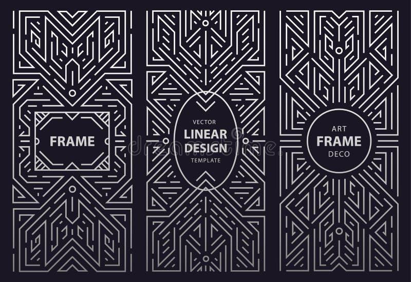 Insieme di vettore di progettazione del monogramma in annata d'avanguardia e di mono linea stile con spazio per testo - geometric illustrazione vettoriale