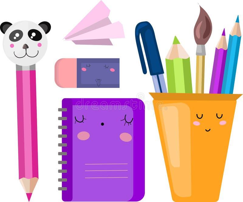 Insieme di vettore, raccolta, illustrazione con i rifornimenti di scuola Di nuovo al banco illustrazione di stock