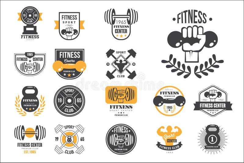 Insieme di vettore di retro modelli di logo di forma fisica Emblemi con le teste di legno, i bilancieri e le siluette degli uomin illustrazione di stock