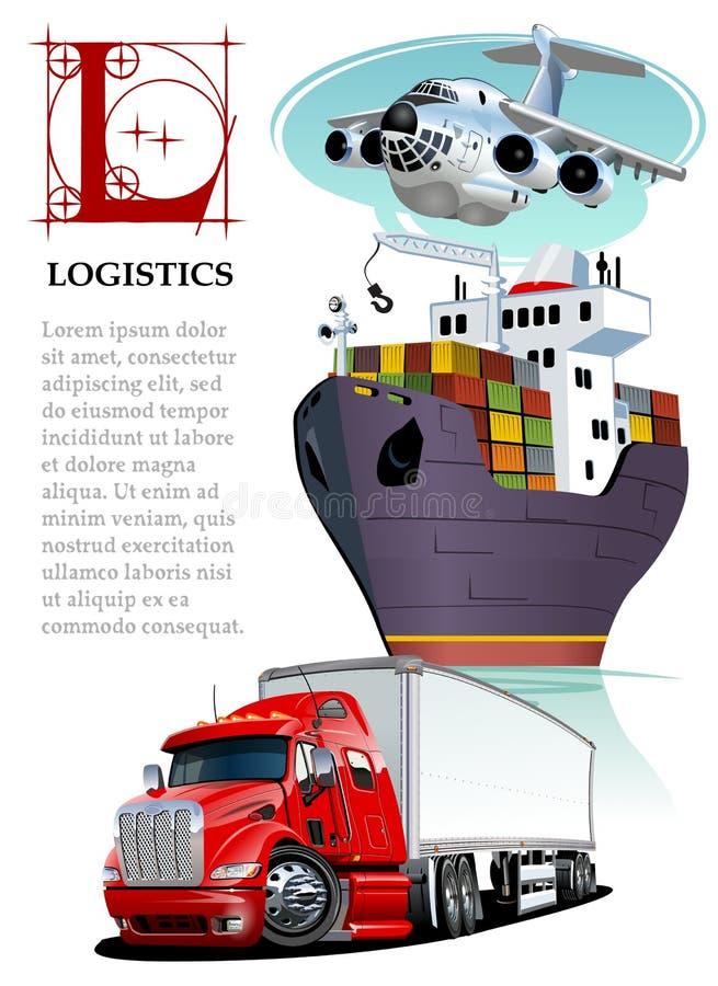 Insieme di vettore di trasporto di carico del fumetto Modello di logistica illustrazione vettoriale