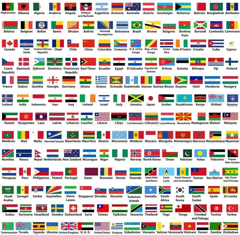 Insieme di vettore di tutte le bandiere degli stati sovrani dei paesi del mondo, sistemato in ordine alfabetico illustrazione di stock