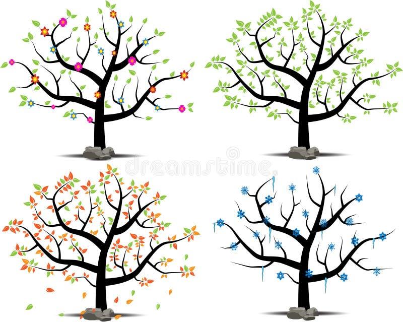 Insieme di vettore di un albero in 4 stagioni immagine stock libera da diritti