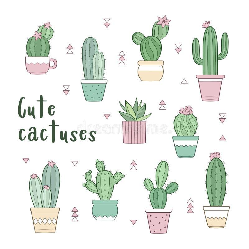 Insieme di vettore di vari cactus disegnati a mano del profilo in vasi da fiori illustrazione vettoriale