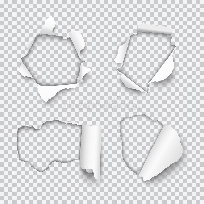 Insieme di vettore di vari fori lacerati in carta con l'isolante rotolato dei bordi illustrazione vettoriale