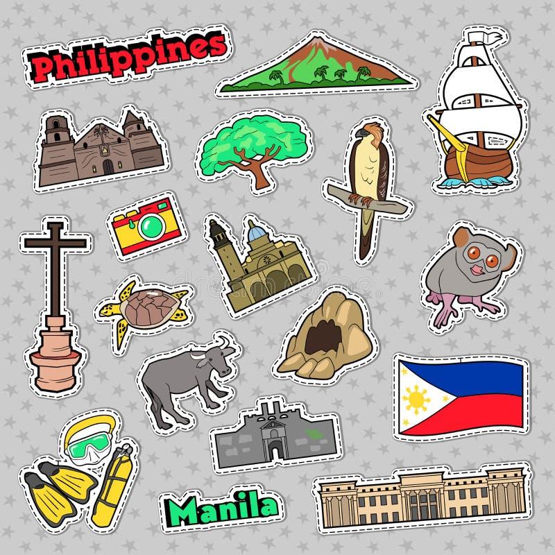 Insieme di viaggio di Filippine con architettura ed animali per le stampe, gli autoadesivi ed i distintivi illustrazione vettoriale