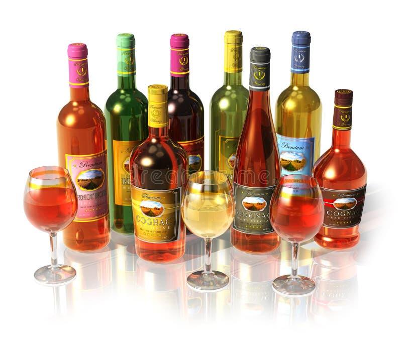 Insieme di vino e bottiglie e calici del cognac fotografie stock libere da diritti
