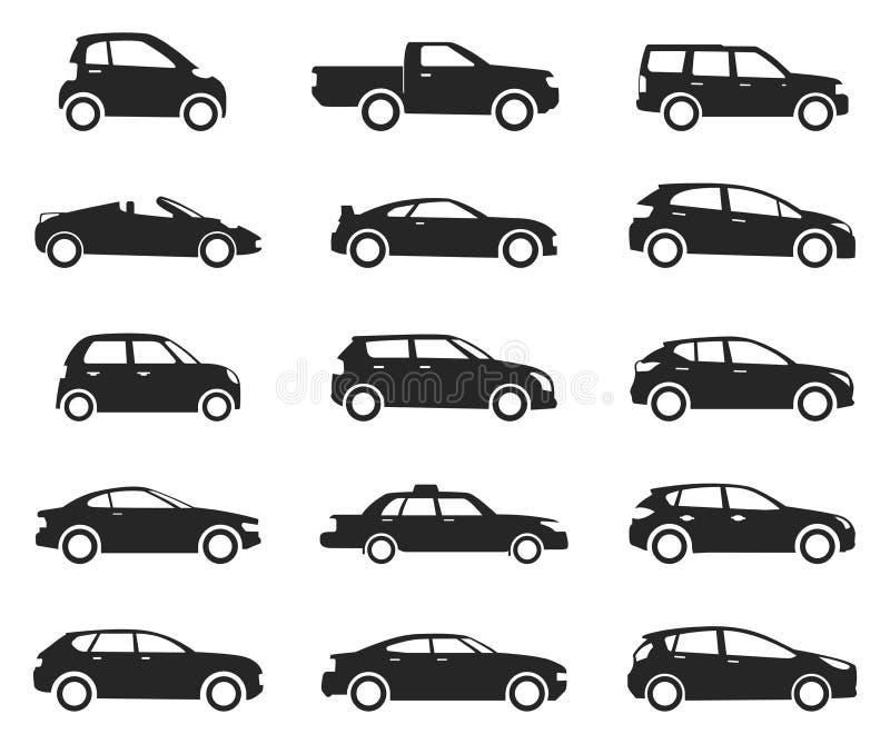 Insieme di vista laterale dell'icona dell'automobile, siluetta nera illustrazione vettoriale
