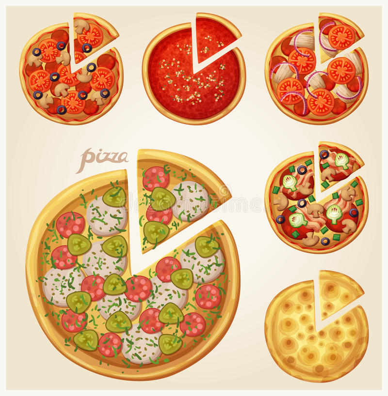 Insieme di vista superiore della pizza illustrazione di stock
