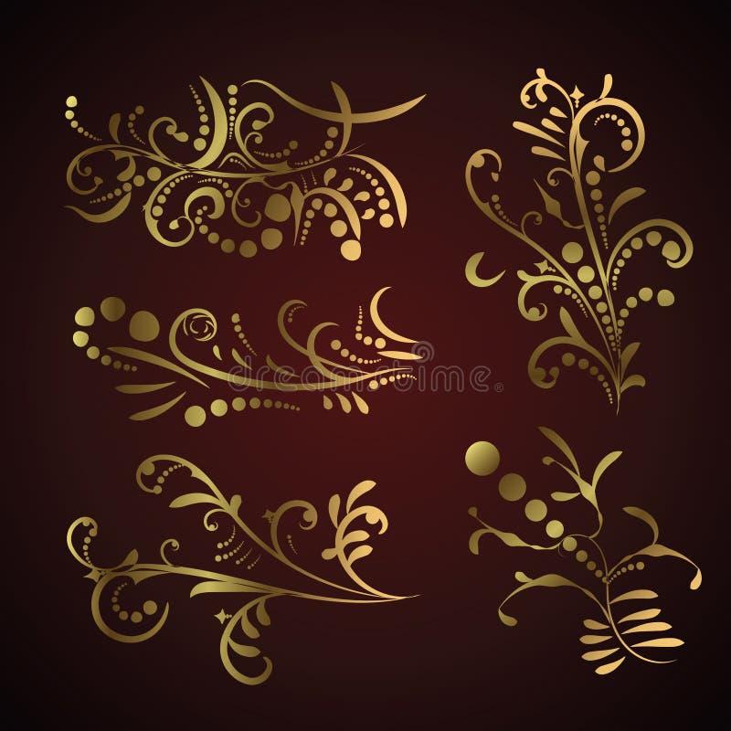 Insieme di vittoriano degli elementi decorati dorati della decorazione della pagina royalty illustrazione gratis