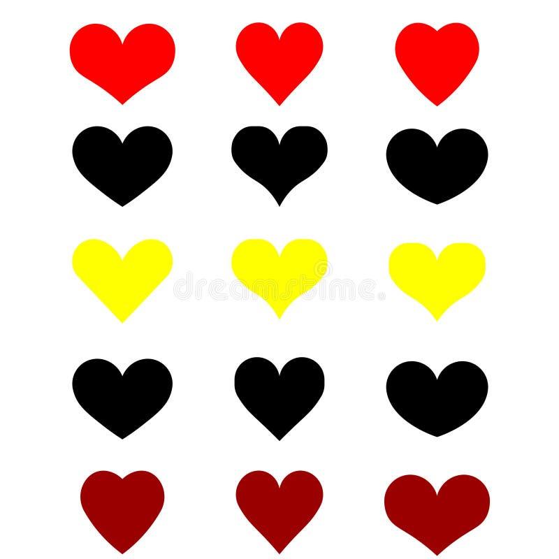 Insieme di web dei cuori su fondo bianco, rosso nero giallo illustrazione dell'insegna dei cuori, logo, stampa fotografia stock libera da diritti