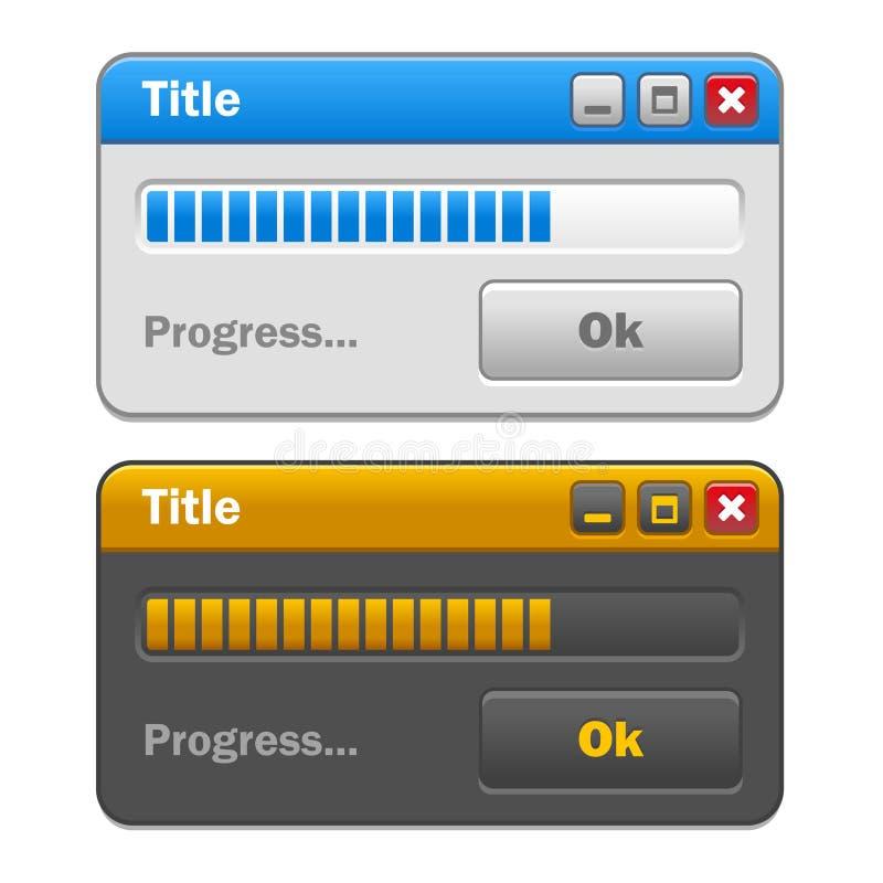 Insieme di Windows del computer di colore con progresso di caricamento illustrazione di stock
