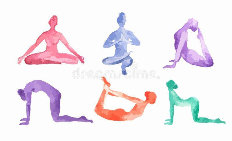 Insieme di yoga dell'acquerello illustrazione di stock