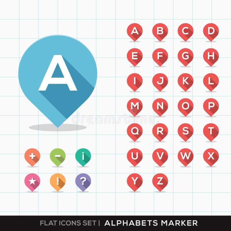 Insieme di A-Z Alphabet Pin Marker Flat Icons con lon illustrazione di stock