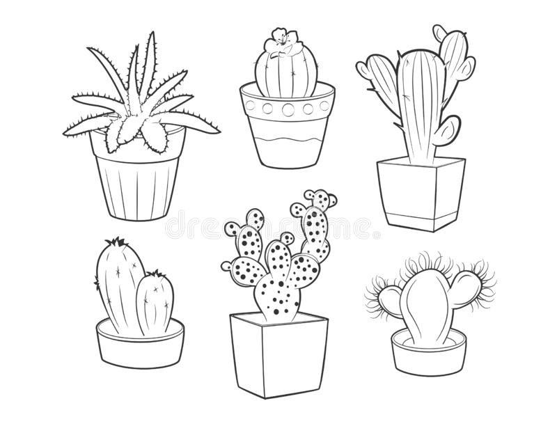 Insieme differente dei succulenti e dei cactus royalty illustrazione gratis