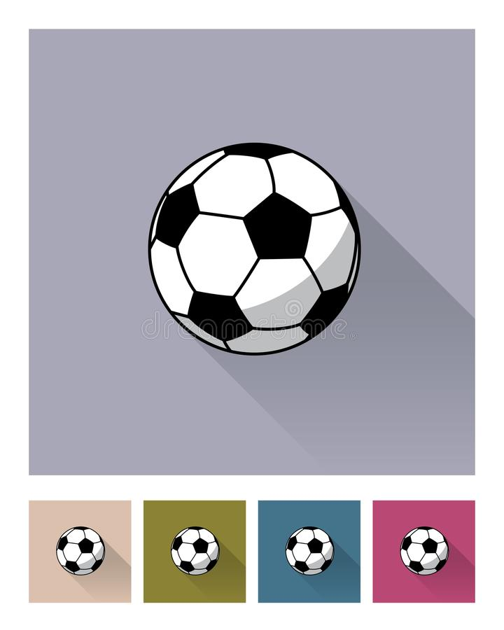 Insieme differente dell'icona degli ambiti di provenienza della palla di calcio Illustrazione piana di stile del pallone da calci illustrazione di stock