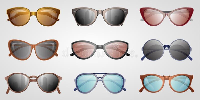 Insieme differente dell'icona degli occhiali da sole di estate fotografie stock