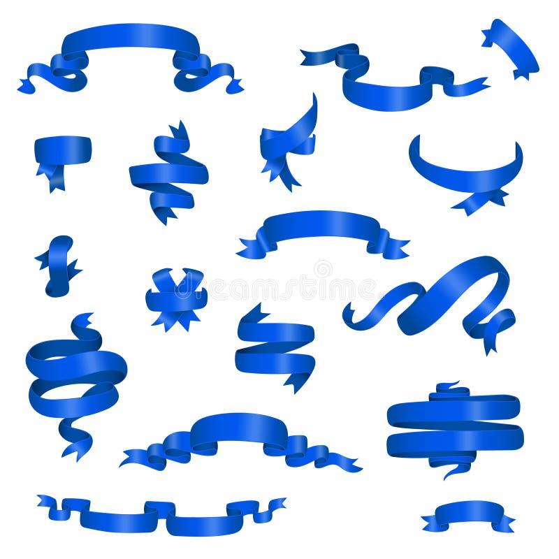 Insieme differente delle insegne del nastro lucido blu illustrazione di stock