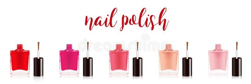 Insieme differente dello smalto di colori Smalto per unghie nella bottiglia con il coperchio della bottiglia, isolato su fondo bi illustrazione vettoriale