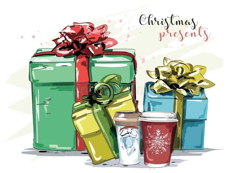 Insieme disegnato a mano con i regali di Natale e le tazze da caffè illustrazione vettoriale