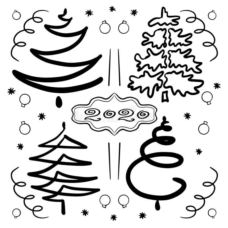 Insieme disegnato a mano degli alberi di Natale astratti Clipart per le feste nuovo anno e Natale di progettazione Contorni neri, illustrazione vettoriale