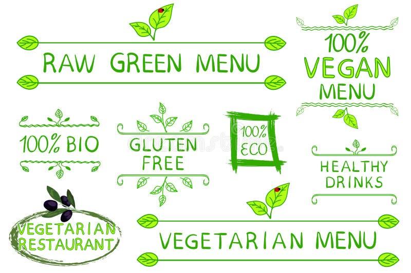 Insieme disegnato a mano degli elementi tipografici isolati su fondo bianco Menu crudo, del vegetariano e del vegano vegetariano royalty illustrazione gratis