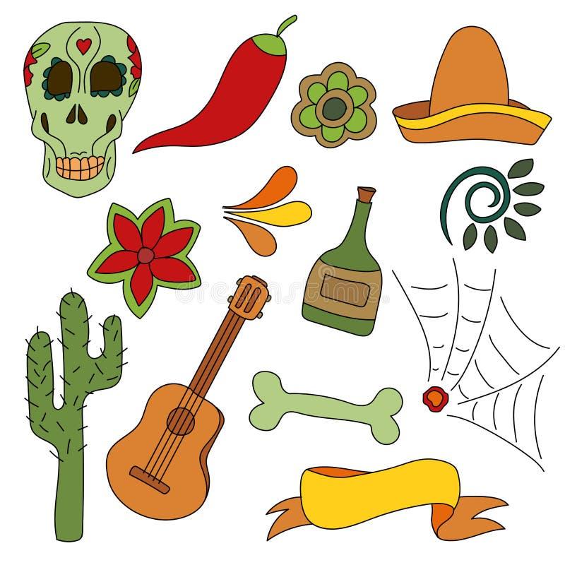Insieme disegnato a mano dei simboli messicani - chitarra, sombrero, tequila, cranio illustrazione vettoriale