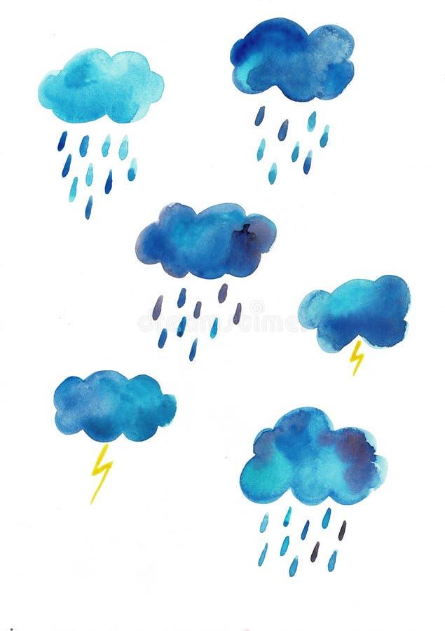Insieme disegnato a mano del cielo dell'acquerello delle nuvole blu e delle gocce di pioggia isolate su fondo bianco royalty illustrazione gratis