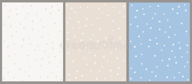 Insieme disegnato a mano del modello di vettore della stella Ambiti di provenienza beige e blu con le stelle bianche illustrazione di stock