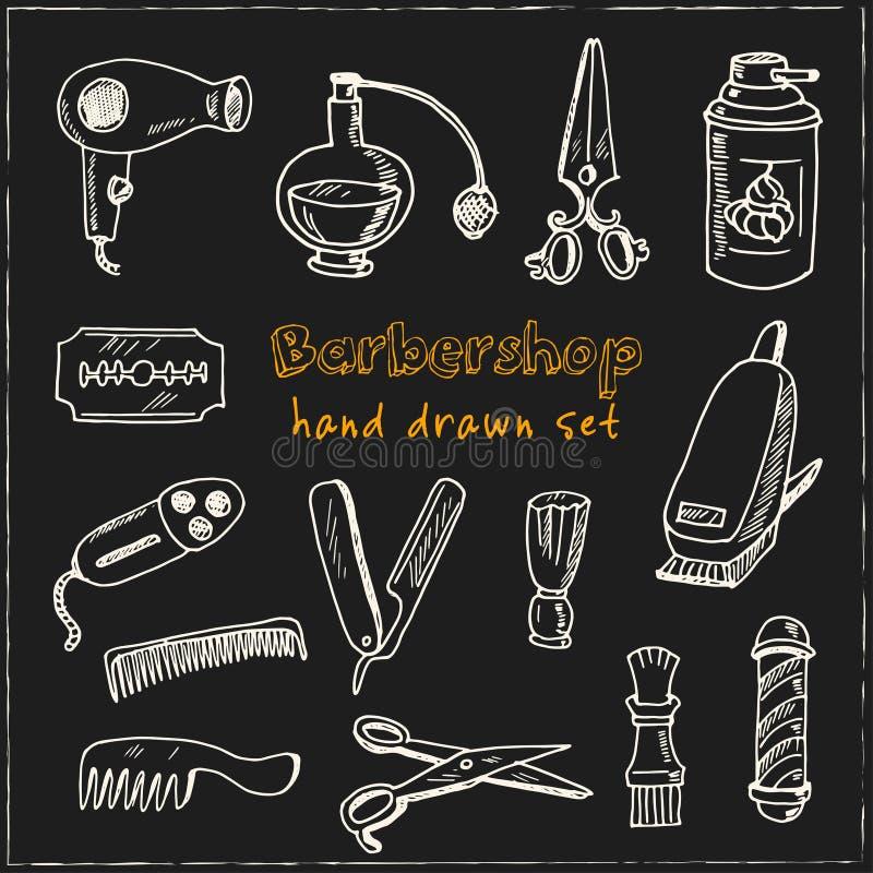 Insieme disegnato a mano del parrucchiere di scarabocchio royalty illustrazione gratis
