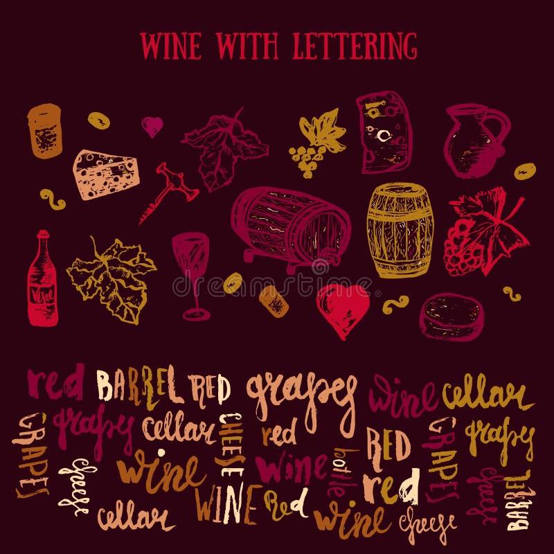 Insieme disegnato a mano del vino con iscrizione Illustrazione di vettore Il vino firma - la bottiglia, vetro, uva, foglia dell'u royalty illustrazione gratis