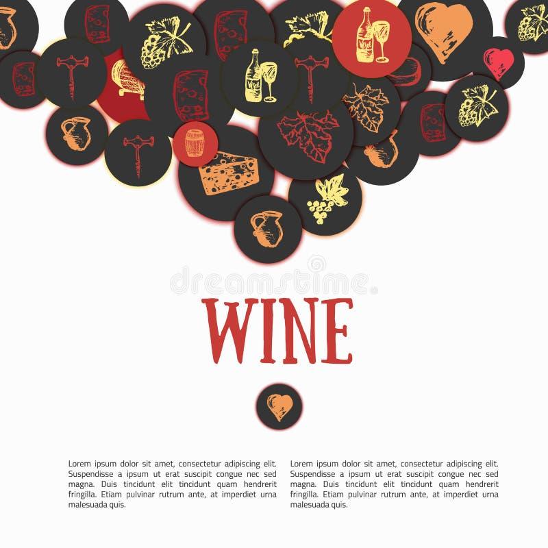 Insieme disegnato a mano del vino Illustrazione di vettore segni - bottiglia, vetro, uva, foglia, formaggio Può essere usato per  royalty illustrazione gratis