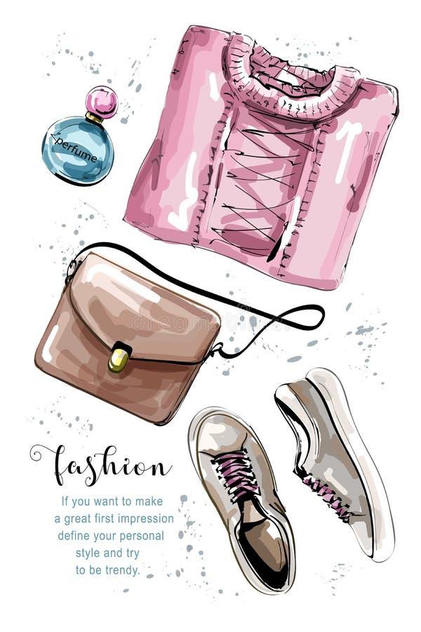 Insieme disegnato a mano dell'abbigliamento con la borsa, maglione, profumo, scarpe Attrezzatura femminile alla moda Vestiti del  illustrazione di stock