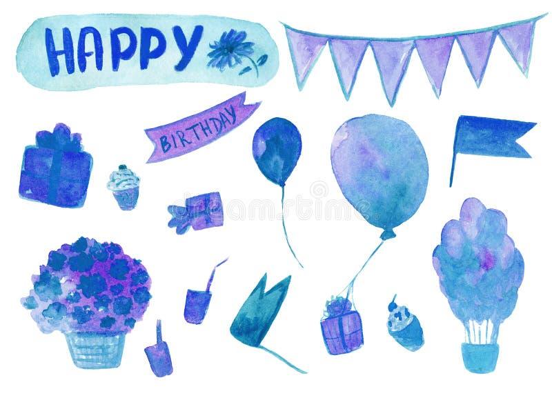 Insieme disegnato a mano dell'acquerello birthaday felice nel colore blu isolato sui precedenti bianchi illustrazione di stock